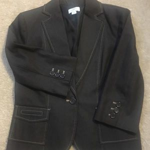 2pc Ann Taylor loft chocolate denim suit, size 8